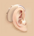 hearing aid behind the ear ear and sound vector image vector image