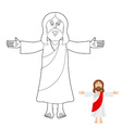 Jesus coloring book Jesus christ drawing for vector image