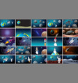 large set various space scenes vector image vector image
