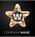 letter w logo symbol in the colorful star on black vector image vector image