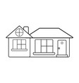 line big house with roof and windows with door vector image vector image