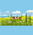 lovely country rural landscape cow sheep grazing vector image vector image