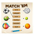 Matching game with sports and balls vector image vector image