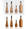 mock up realistic amber and black alcohol bottles vector image
