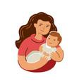 mom hugs baby mothers day motherhood symbol vector image