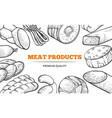 natural sausages and meat product line art banner vector image vector image