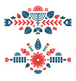 nordic ornaments folk art pattern two decorative vector image