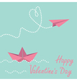 Origami paper boat and paper plane Valentines day vector image vector image