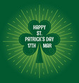 patricks day leaf clover logo vintage background vector image