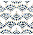 Peacock geometric wave fan seamless pattern