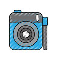 photo camera lens flash button device cartoon vector image vector image