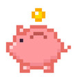 piggy bank money pixel art cartoon retro game vector image