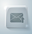 postal envelope Glass square icon with highlights vector image
