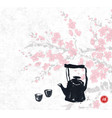 sakura blossom and old teapot on rice paper vector image vector image