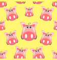seamless pattern with the image of a cartoon pink vector image vector image