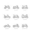 set line icons motorcycle vector image