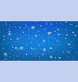 snowy blue background with falling snowflakes vector image vector image