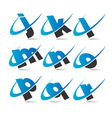 Swoosh Small Letters Logo Icons Set 2 vector image