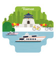 taiwan travel and attraction landmarks vector image vector image