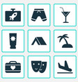 tourism icons set with mask shorts cocktail and vector image vector image