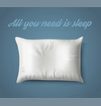 white pillow on blue background with real shadow vector image