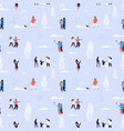 winter time seamless pattern couples and kids vector image vector image