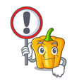 with sign character ripe yellow pepper for cooking vector image vector image