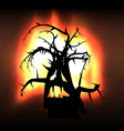 Spooky monster creature tree in flames vector image