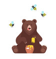 bear character eating sweet honey vector image