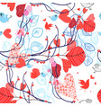 beautiful floral pattern with birds vector image vector image