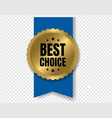 best choice badge with ribbon and transparent vector image vector image