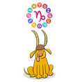 capricorn zodiac sign with cartoon dog vector image vector image