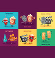 cartoon cinema characters funny popcorn cinema vector image vector image