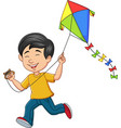 cartoon happy boy playing kite vector image