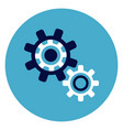 cog wheel icon on round blue background vector image vector image