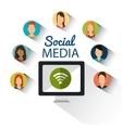 computer wifi community social media vector image vector image