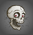creepy skull with red eyes cartoon vector image