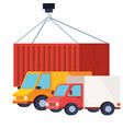 delivery service vehicles and container vector image vector image