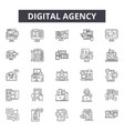 digital agency line icons signs set vector image vector image