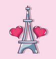 eiffel tower with heart design decoration vector image
