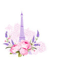 eiffel tower with rose flowers isolated over white vector image vector image