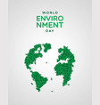 environment day card green leaf earth map vector image vector image