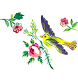 Flying bird with branch of a rose isolated white vector image vector image
