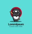 fun playful ninja panda mascot cartoon logo icon vector image vector image