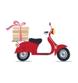 Funny red scooter with pizza Pizza Delivery vector image