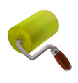 green paint roller in realistic 3d style isolated vector image