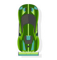 green sport car top view in flat style isolated vector image vector image