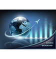growth chart and planet earth with an arrow on a vector image vector image