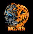 halloween pumpkin half skull looks spooky vector image vector image