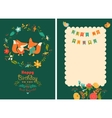Happy birthday card with cute foxes in wreath vector image vector image